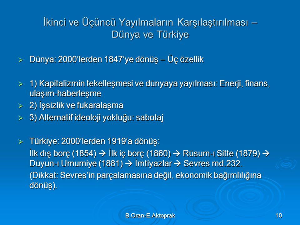 B.Oran-E.Aktoprak10 İkinci ve Üçüncü Yayılmaların Karşılaştırılması – Dünya ve Türkiye  Dünya: 2000'lerden 1847'ye dönüş – Üç özellik  1) Kapitalizm