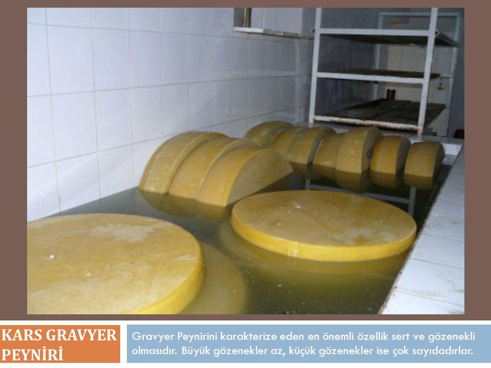 Gravyer Peynirini karakterize eden en önemli özellik sert ve gözenekli olmasıdır. Büyük gözenekler az, küçük gözenekler ise çok sayıdadırlar. KARS GRA