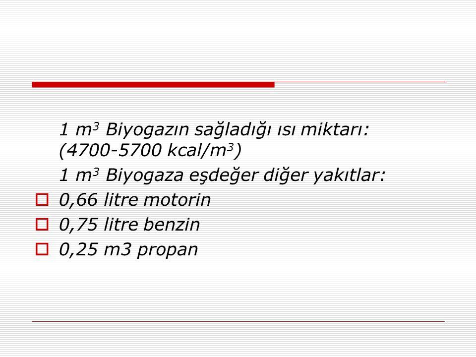 1 m 3 Biyogazın sağladığı ısı miktarı: (4700-5700 kcal/m 3 ) 1 m 3 Biyogaza eşdeğer diğer yakıtlar:  0,66 litre motorin  0,75 litre benzin  0,25 m3 propan