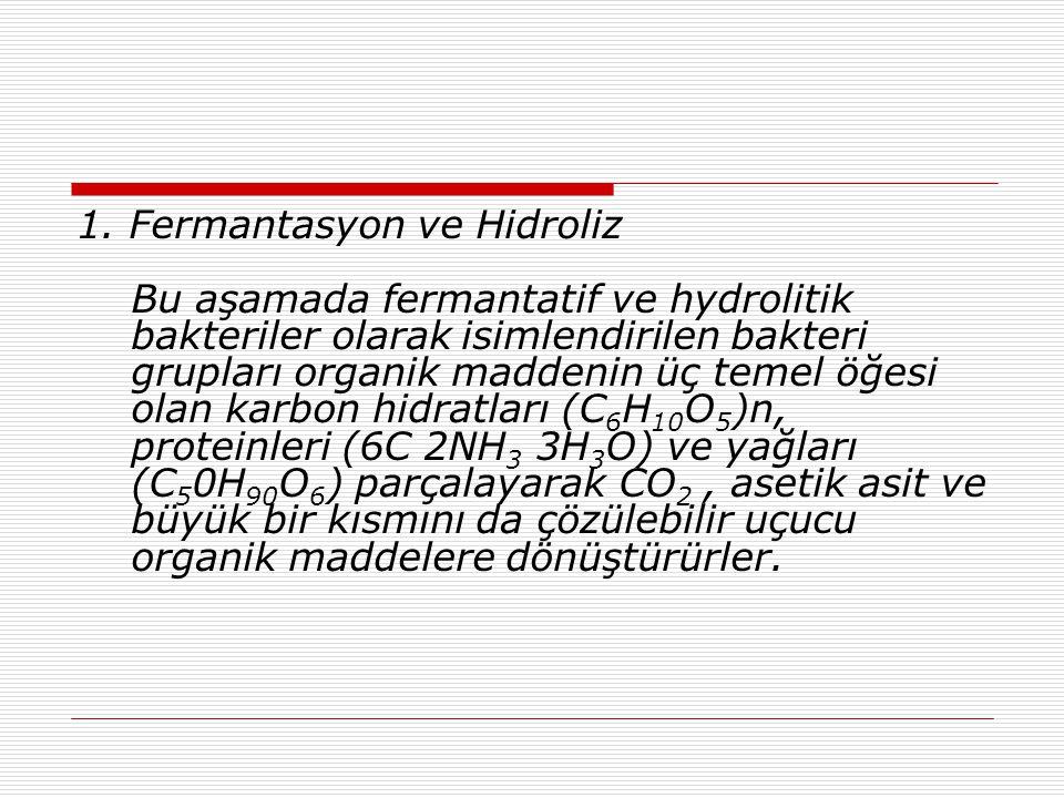 1. Fermantasyon ve Hidroliz Bu aşamada fermantatif ve hydrolitik bakteriler olarak isimlendirilen bakteri grupları organik maddenin üç temel öğesi ola