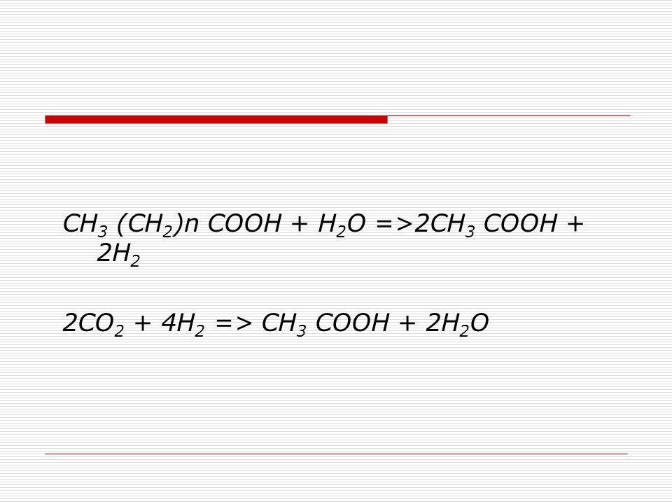 CH 3 (CH 2 )n COOH + H 2 O =>2CH 3 COOH + 2H 2 2CO 2 + 4H 2 => CH 3 COOH + 2H 2 O