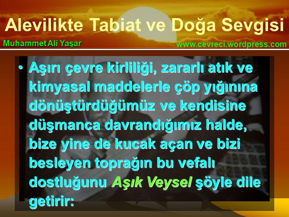 Alevilikte Tabiat ve Doğa Sevgisi www.cevreci.wordpress.com Muhammet Ali Yaşar •Aşırı çevre kirliliği, zararlı atık ve kimyasal maddelerle çöp yığının