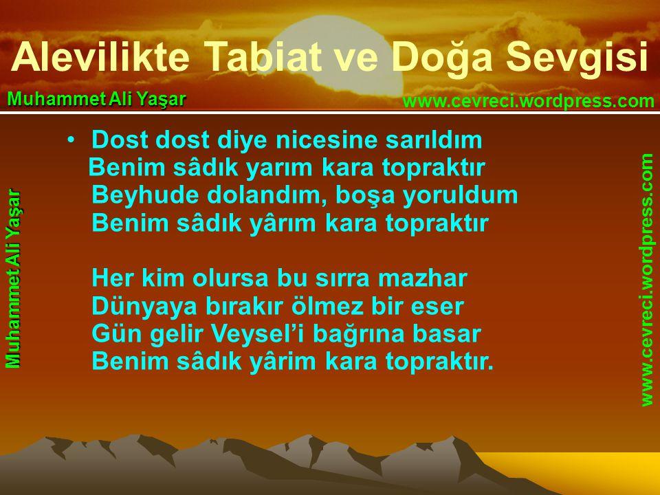 Alevilikte Tabiat ve Doğa Sevgisi www.cevreci.wordpress.com Muhammet Ali Yaşar •Dost dost diye nicesine sarıldım Benim sâdık yarım kara topraktır Beyhude dolandım, boşa yoruldum Benim sâdık yârım kara topraktır Her kim olursa bu sırra mazhar Dünyaya bırakır ölmez bir eser Gün gelir Veysel'i bağrına basar Benim sâdık yârim kara topraktır.