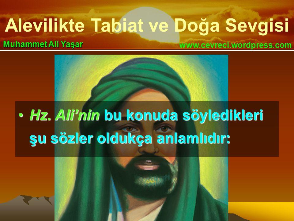 Alevilikte Tabiat ve Doğa Sevgisi www.cevreci.wordpress.com Muhammet Ali Yaşar •Hz. Ali'nin bu konuda söyledikleri şu sözler oldukça anlamlıdır: