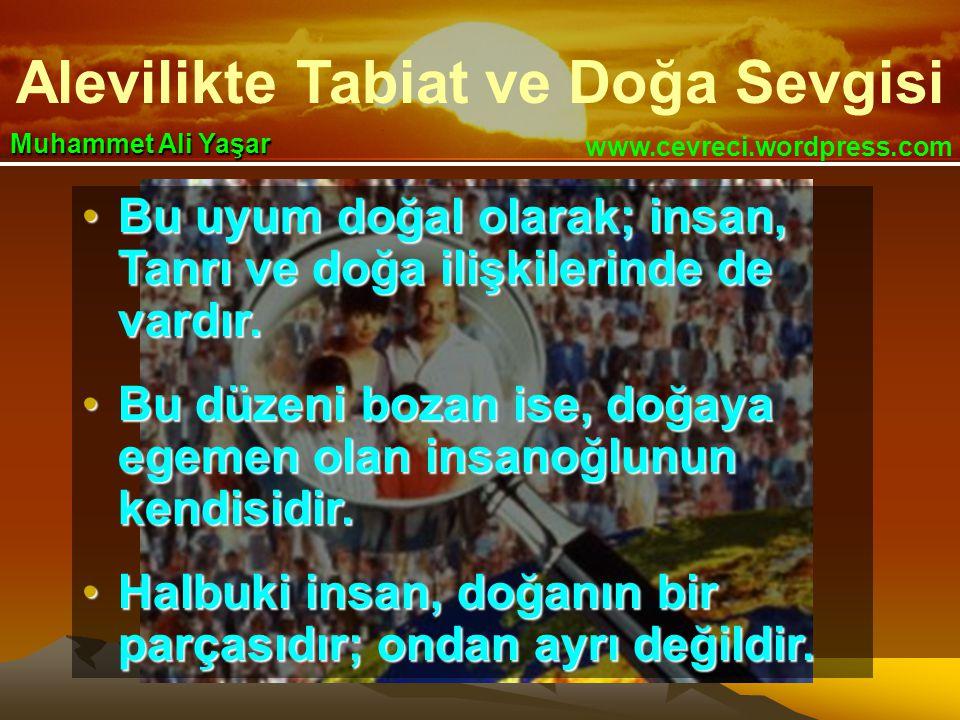 Alevilikte Tabiat ve Doğa Sevgisi www.cevreci.wordpress.com Muhammet Ali Yaşar •Bu uyum doğal olarak; insan, Tanrı ve doğa ilişkilerinde de vardır.