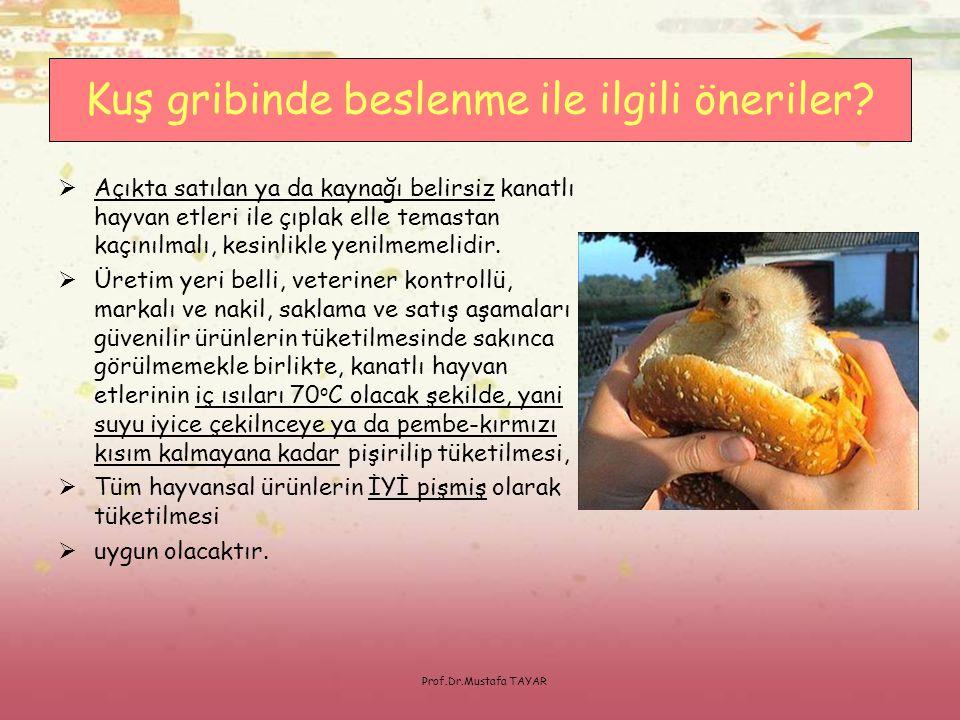 Prof.Dr.Mustafa TAYAR  Açıkta satılan ya da kaynağı belirsiz kanatlı hayvan etleri ile çıplak elle temastan kaçınılmalı, kesinlikle yenilmemelidir. 