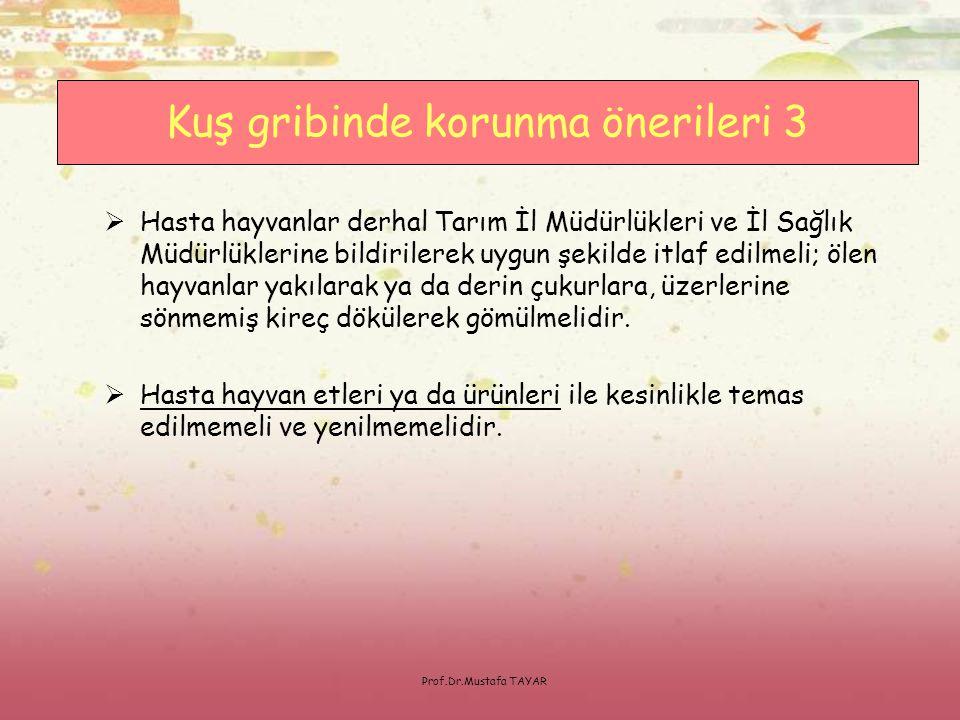 Prof.Dr.Mustafa TAYAR  Hasta hayvanlar derhal Tarım İl Müdürlükleri ve İl Sağlık Müdürlüklerine bildirilerek uygun şekilde itlaf edilmeli; ölen hayva
