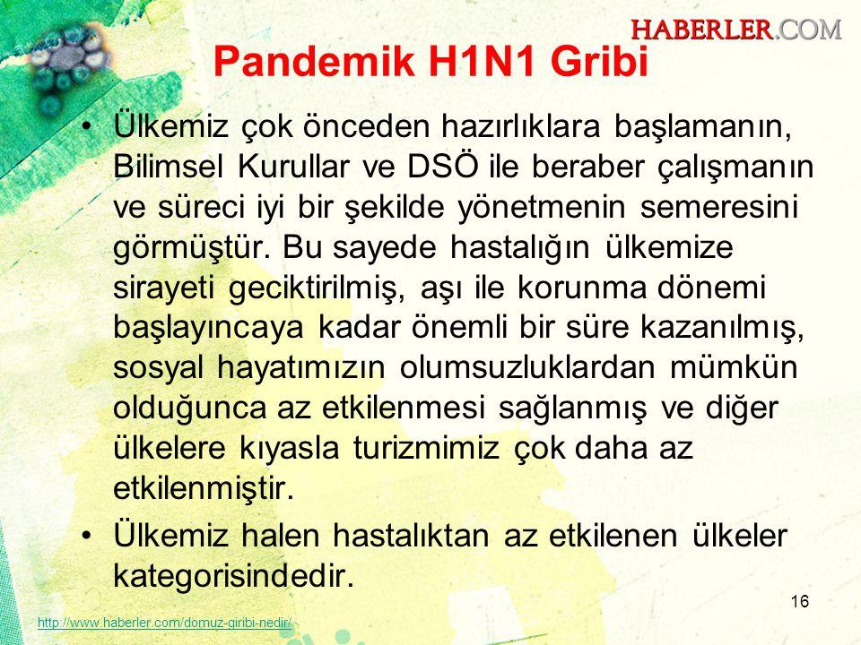 Pandemik H1N1 Gribi •Ülkemiz çok önceden hazırlıklara başlamanın, Bilimsel Kurullar ve DSÖ ile beraber çalışmanın ve süreci iyi bir şekilde yönetmenin