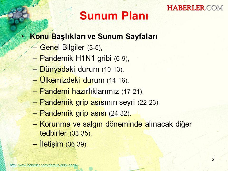 Sunum Planı •Konu Başlıkları ve Sunum Sayfaları –Genel Bilgiler (3-5), –Pandemik H1N1 gribi (6-9), –Dünyadaki durum (10-13), –Ülkemizdeki durum (14-16