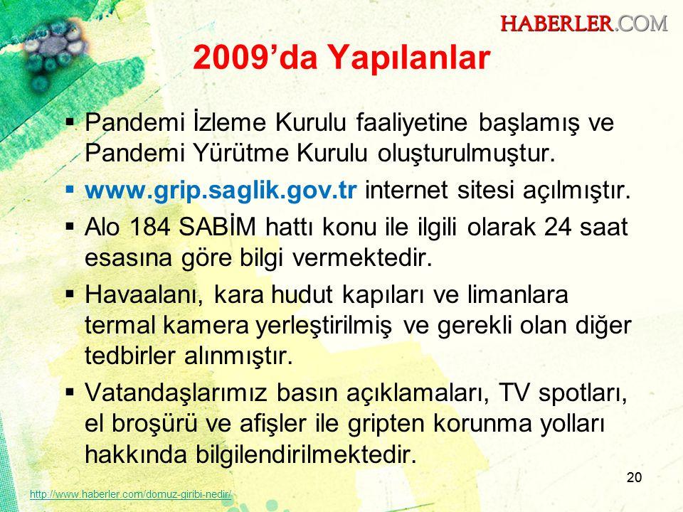 20 2009'da Yapılanlar  Pandemi İzleme Kurulu faaliyetine başlamış ve Pandemi Yürütme Kurulu oluşturulmuştur.  www.grip.saglik.gov.tr internet sitesi