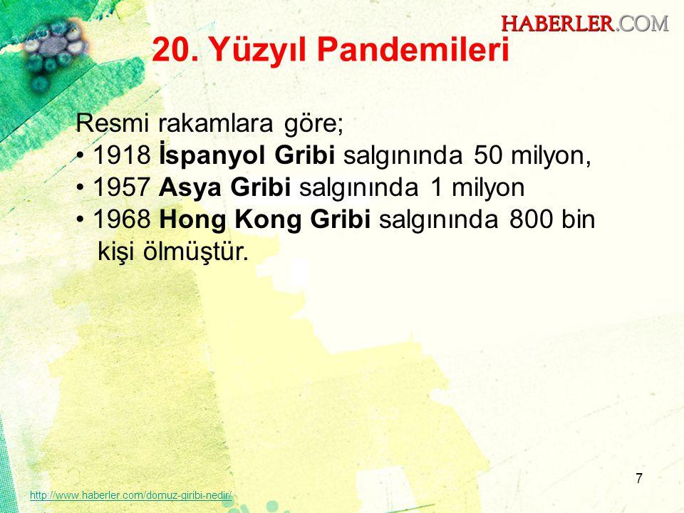 7 20. Yüzyıl Pandemileri Resmi rakamlara göre; • 1918 İspanyol Gribi salgınında 50 milyon, • 1957 Asya Gribi salgınında 1 milyon • 1968 Hong Kong Grib