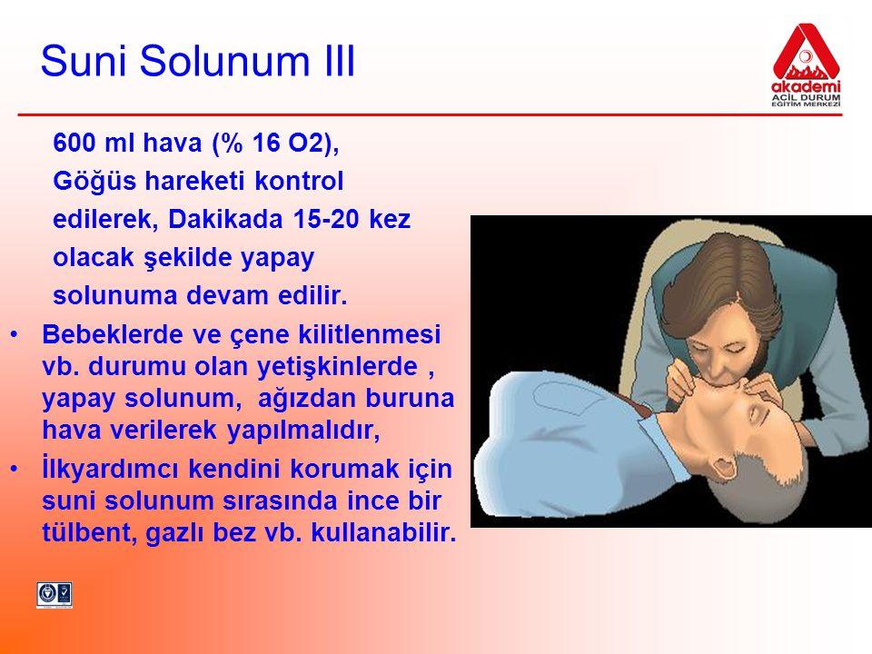 Suni Solunum III 600 ml hava (% 16 O2), Göğüs hareketi kontrol edilerek, Dakikada 15-20 kez olacak şekilde yapay solunuma devam edilir. •Bebeklerde ve