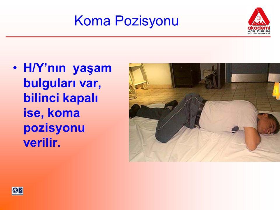 Koma Pozisyonu •H/Y'nın yaşam bulguları var, bilinci kapalı ise, koma pozisyonu verilir.