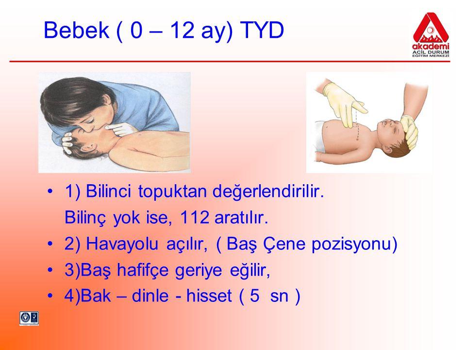 Bebek ( 0 – 12 ay) TYD •1) Bilinci topuktan değerlendirilir. Bilinç yok ise, 112 aratılır. •2) Havayolu açılır, ( Baş Çene pozisyonu) •3)Baş hafifçe g