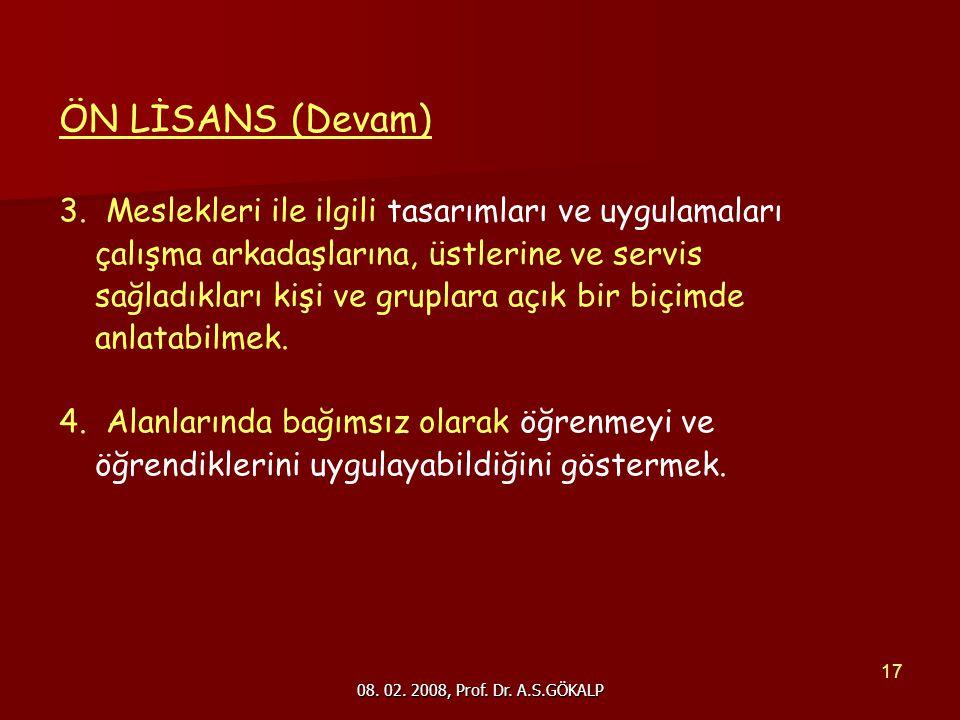08. 02. 2008, Prof. Dr. A.S.GÖKALP 17 ÖN LİSANS (Devam) 3.