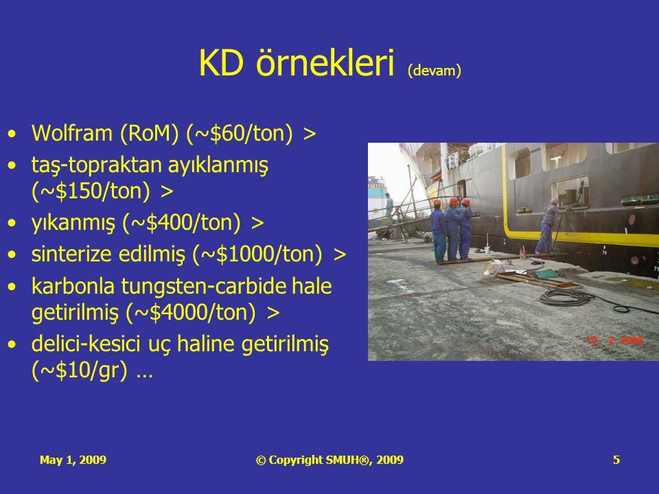 May 1, 2009© Copyright SMUH®, 20095 KD örnekleri (devam) •Wolfram (RoM) (~$60/ton) > •taş-topraktan ayıklanmış (~$150/ton) > •yıkanmış (~$400/ton) > •