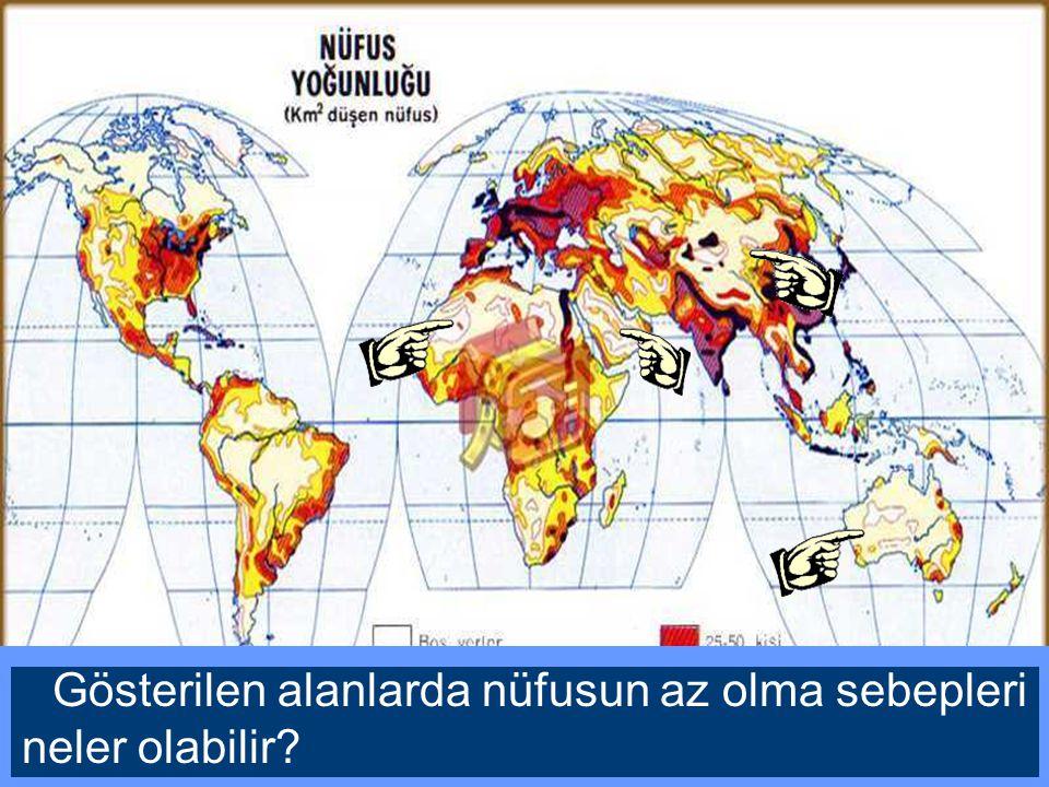 Nüfusu yoğun olan yerler ile bu haritayı karşılaştırdığımızda hangi sonuca varabiliriz?