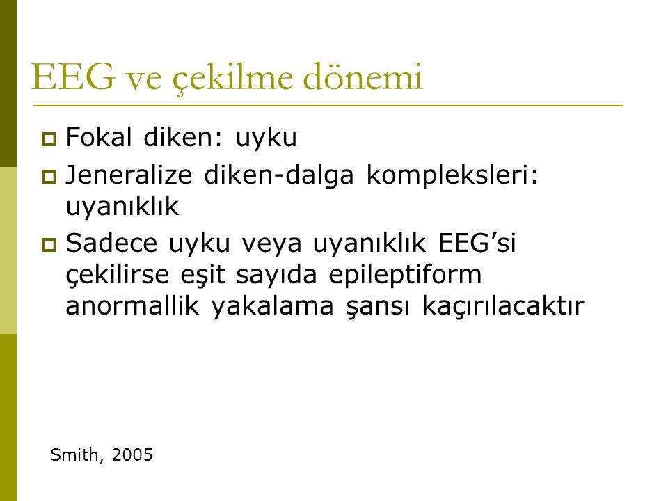 EEG ve çekilme dönemi  Fokal diken: uyku  Jeneralize diken-dalga kompleksleri: uyanıklık  Sadece uyku veya uyanıklık EEG'si çekilirse eşit sayıda e