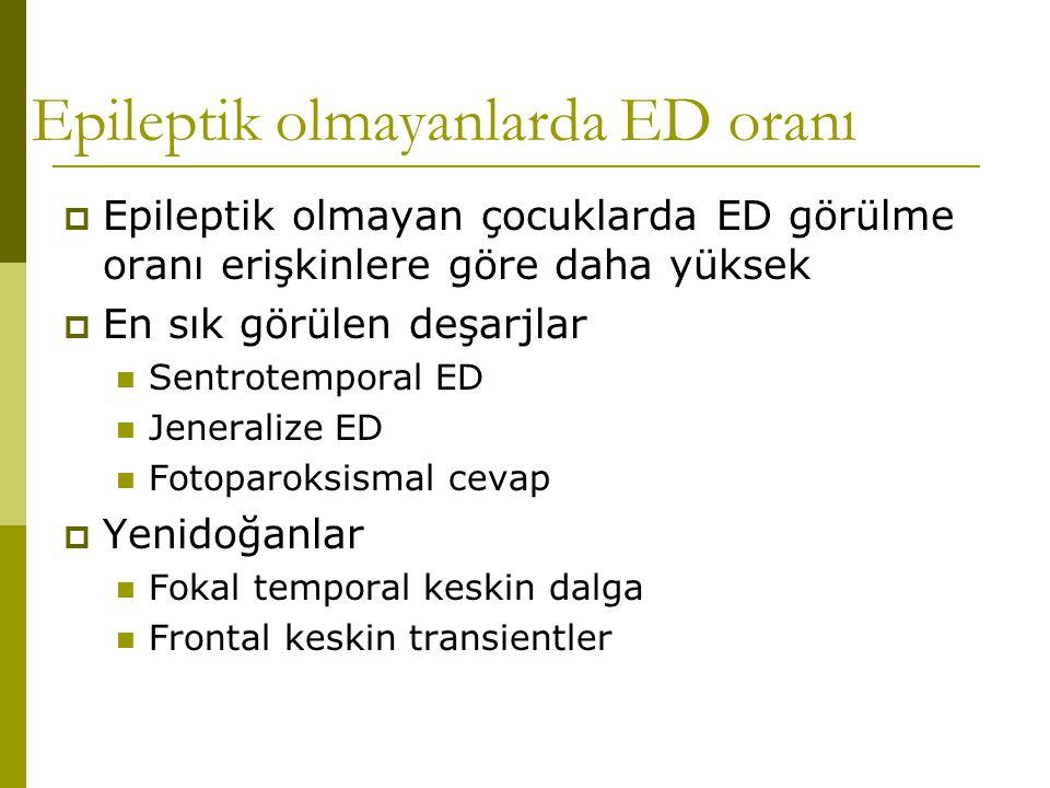 Epileptik olmayanlarda ED oranı  Epileptik olmayan çocuklarda ED görülme oranı erişkinlere göre daha yüksek  En sık görülen deşarjlar  Sentrotempor