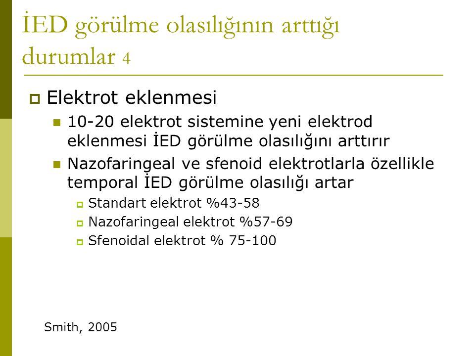 İED görülme olasılığının arttığı durumlar 4  Elektrot eklenmesi  10-20 elektrot sistemine yeni elektrod eklenmesi İED görülme olasılığını arttırır 