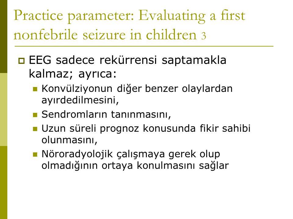 Practice parameter: Evaluating a first nonfebrile seizure in children 3  EEG sadece rekürrensi saptamakla kalmaz; ayrıca:  Konvülziyonun diğer benze