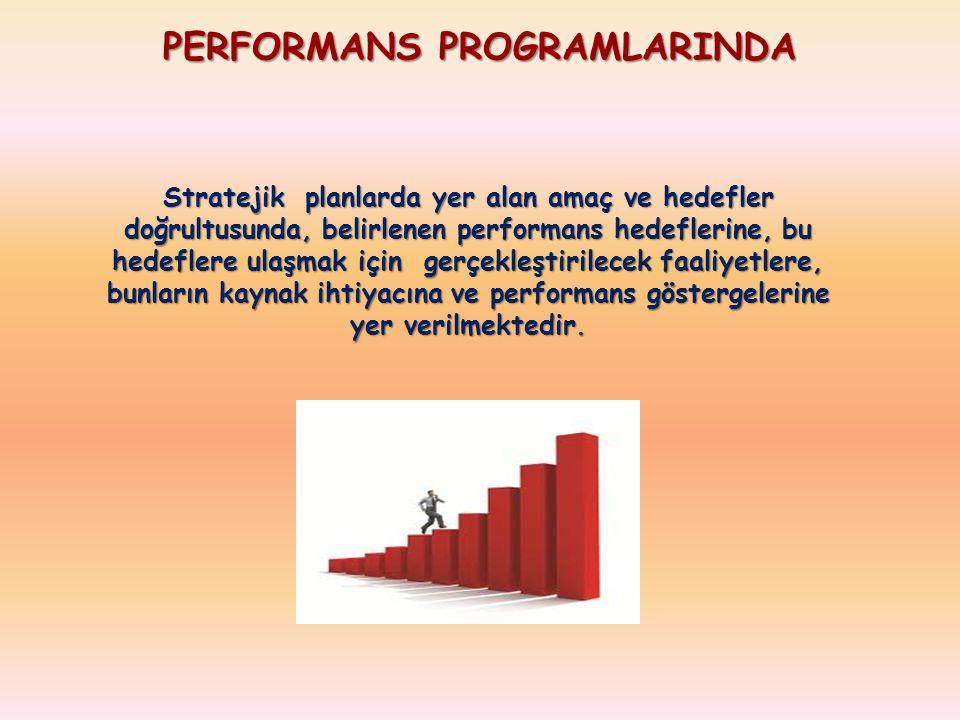 PERFORMANS PROGRAMLARINDA Stratejik planlarda yer alan amaç ve hedefler doğrultusunda, belirlenen performans hedeflerine, bu hedeflere ulaşmak için gerçekleştirilecek faaliyetlere, bunların kaynak ihtiyacına ve performans göstergelerine yer verilmektedir.