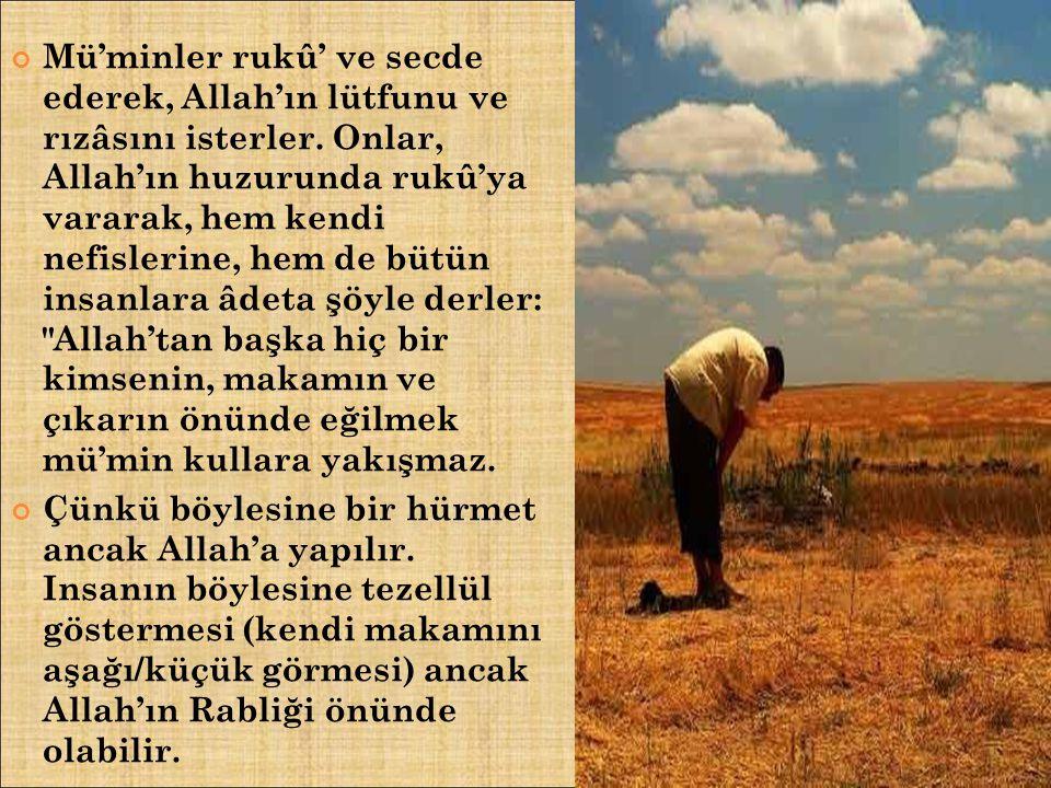 Mü'minler rukû' ve secde ederek, Allah'ın lütfunu ve rızâsını isterler. Onlar, Allah'ın huzurunda rukû'ya vararak, hem kendi nefislerine, hem de bütün