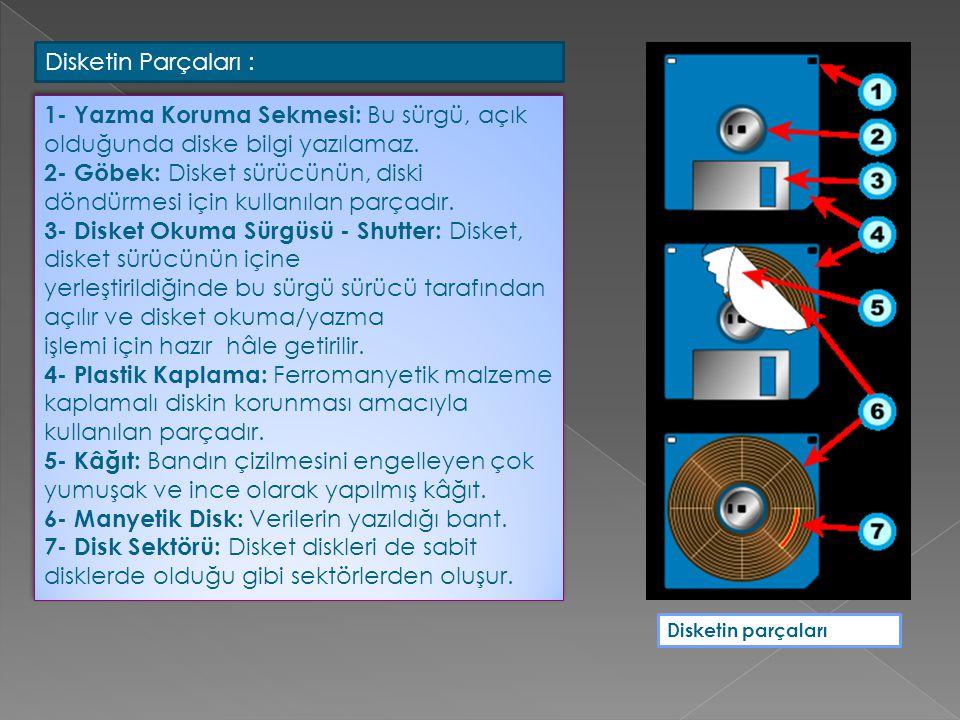Disketin parçaları Disketin Parçaları : 1- Yazma Koruma Sekmesi: Bu sürgü, açık olduğunda diske bilgi yazılamaz. 2- Göbek: Disket sürücünün, diski dön