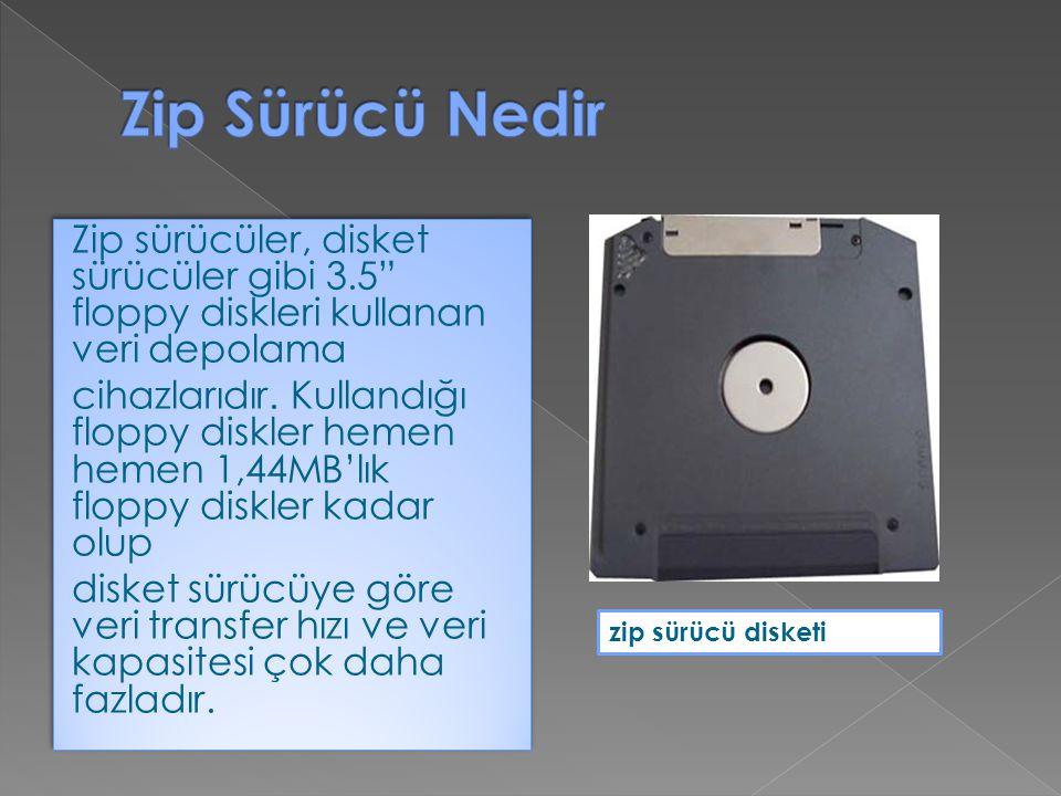 """Zip sürücüler, disket sürücüler gibi 3.5"""" floppy diskleri kullanan veri depolama cihazlarıdır. Kullandığı floppy diskler hemen hemen 1,44MB'lık floppy"""