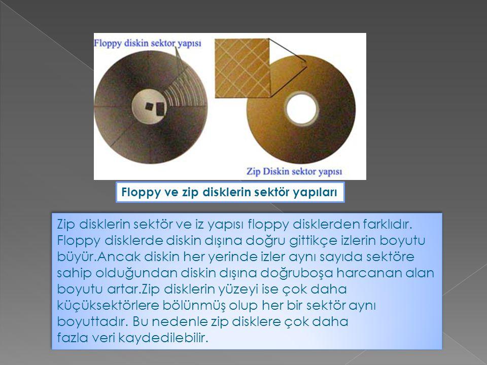 Zip disklerin sektör ve iz yapısı floppy disklerden farklıdır. Floppy disklerde diskin dışına doğru gittikçe izlerin boyutu büyür.Ancak diskin her yer
