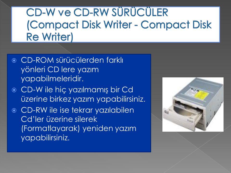  CD-ROM sürücülerden farklı yönleri CD lere yazım yapabilmeleridir.  CD-W ile hiç yazılmamış bir Cd üzerine birkez yazım yapabilirsiniz.  CD-RW ile