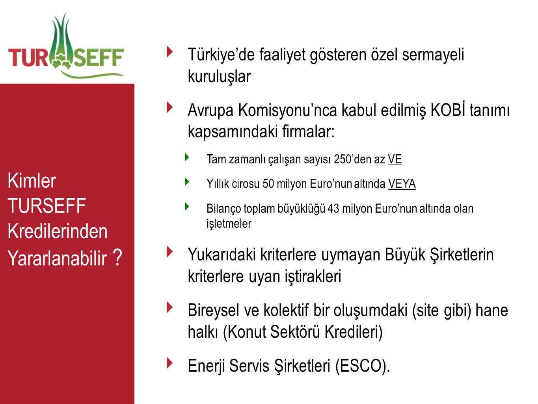 Kimler TURSEFF Kredilerinden Yararlanabilir ? ‣ Türkiye'de faaliyet gösteren özel sermayeli kuruluşlar ‣ Avrupa Komisyonu'nca kabul edilmiş KOBİ tanım