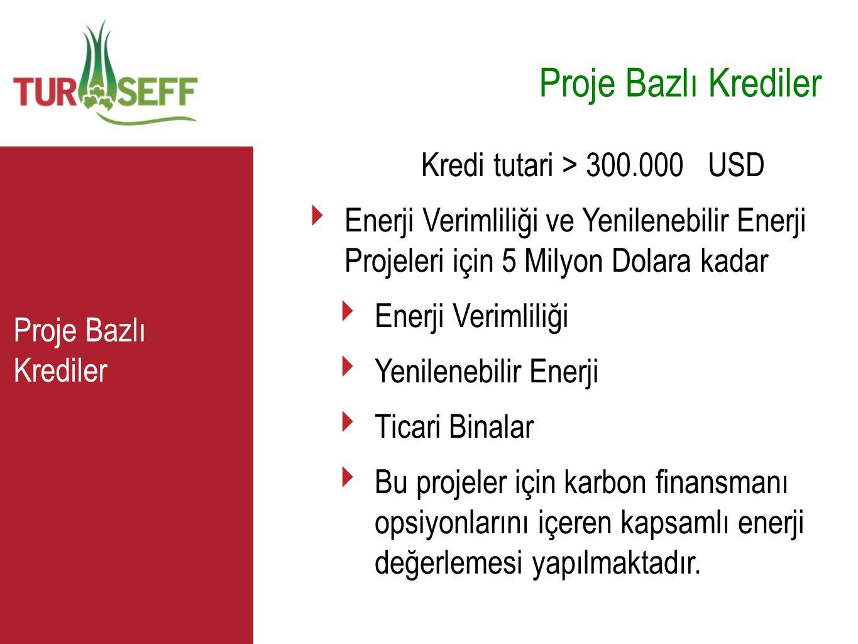 C Proje Bazlı Krediler Kredi tutari > 300.000 USD ‣ Enerji Verimliliği ve Yenilenebilir Enerji Projeleri için 5 Milyon Dolara kadar ‣ Enerji Verimlili