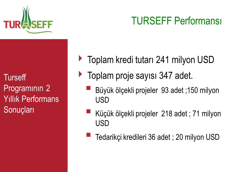 C TURSEFF Performansı ‣ Toplam kredi tutarı 241 milyon USD ‣ Toplam proje sayısı 347 adet.  Büyük ölçekli projeler 93 adet ;150 milyon USD  Küçük öl