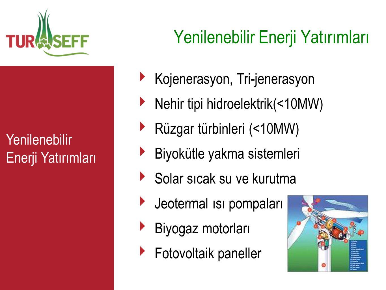 C Yenilenebilir Enerji Yatırımları ‣ Kojenerasyon, Tri-jenerasyon ‣ Nehir tipi hidroelektrik(<10MW) ‣ Rüzgar türbinleri (<10MW) ‣ Biyokütle yakma sist