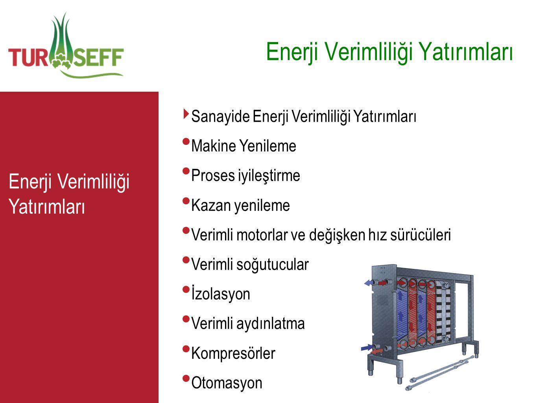 C ‣ Sanayide Enerji Verimliliği Yatırımları • Makine Yenileme • Proses iyileştirme • Kazan yenileme • Verimli motorlar ve değişken hız sürücüleri • Ve