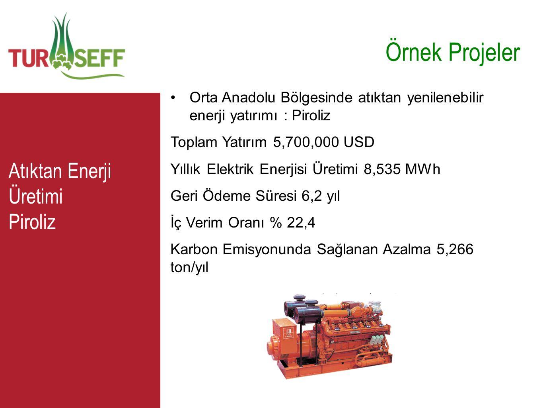C Örnek Projeler •Orta Anadolu Bölgesinde atıktan yenilenebilir enerji yatırımı : Piroliz Toplam Yatırım 5,700,000 USD Yıllık Elektrik Enerjisi Üretim
