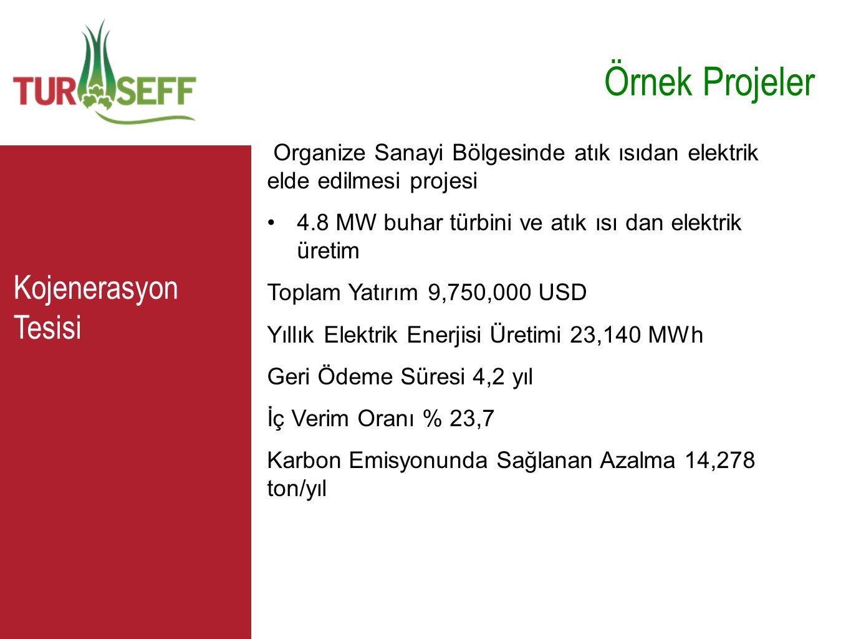 C Örnek Projeler Organize Sanayi Bölgesinde atık ısıdan elektrik elde edilmesi projesi •4.8 MW buhar türbini ve atık ısı dan elektrik üretim Toplam Ya