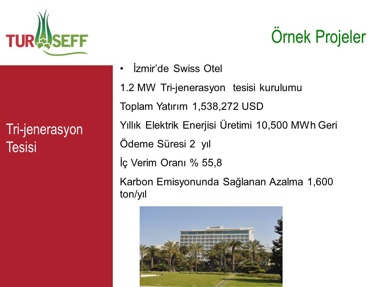 C Örnek Projeler •İzmir'de Swiss Otel 1.2 MW Tri-jenerasyon tesisi kurulumu Toplam Yatırım 1,538,272 USD Yıllık Elektrik Enerjisi Üretimi 10,500 MWh G