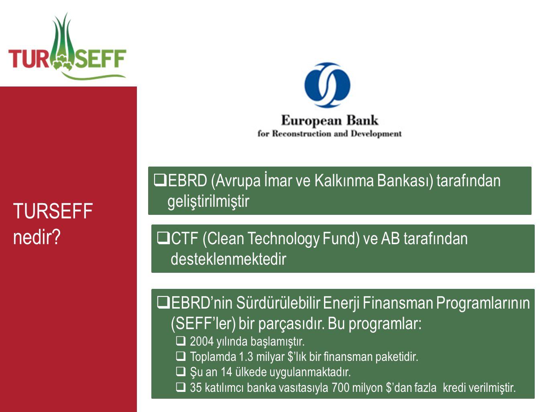 TURSEFF nedir?  EBRD (Avrupa İmar ve Kalkınma Bankası) tarafından geliştirilmiştir  EBRD'nin Sürdürülebilir Enerji Finansman Programlarının (SEFF'le