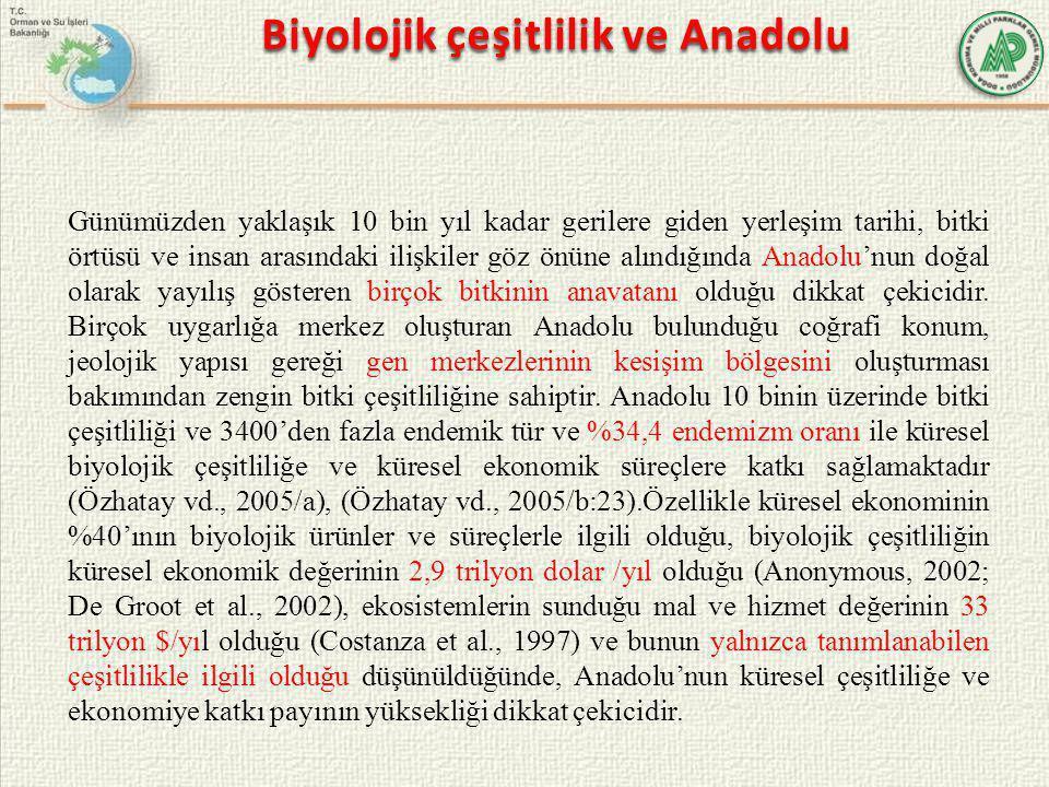 Günümüzden yaklaşık 10 bin yıl kadar gerilere giden yerleşim tarihi, bitki örtüsü ve insan arasındaki ilişkiler göz önüne alındığında Anadolu'nun doğa