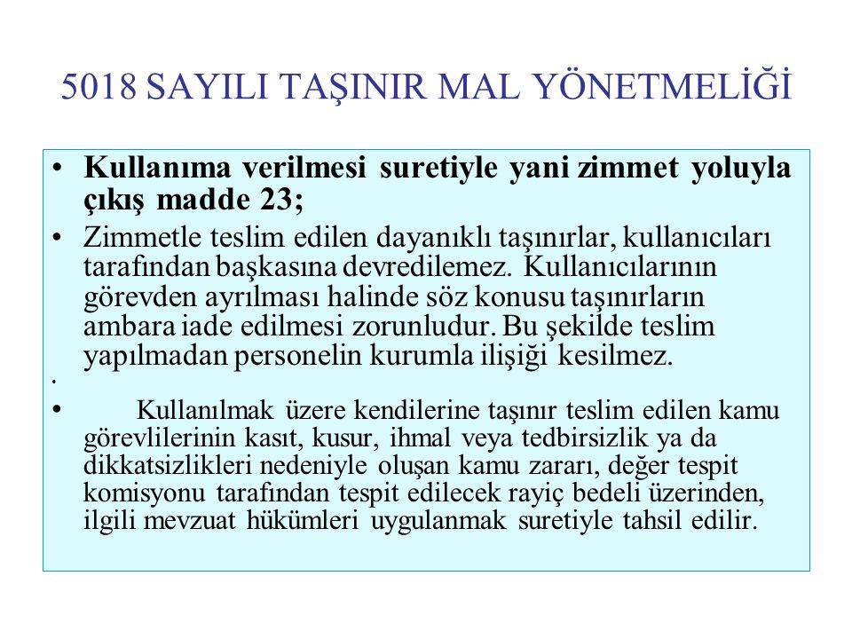 5018 SAYILI TAŞINIR MAL YÖNETMELİĞİ •Kullanıma verilmesi suretiyle yani zimmet yoluyla çıkış madde 23; •Zimmetle teslim edilen dayanıklı taşınırlar, k