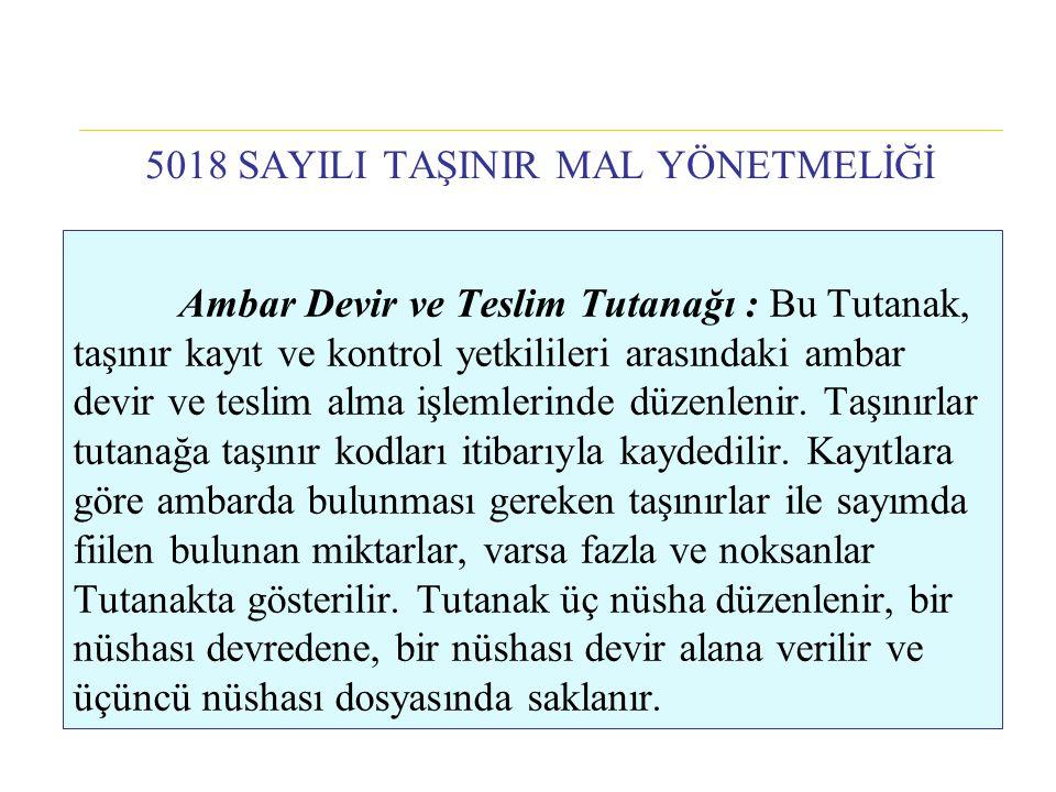 Ambar Devir ve Teslim Tutanağı : Bu Tutanak, taşınır kayıt ve kontrol yetkilileri arasındaki ambar devir ve teslim alma işlemlerinde düzenlenir. Taşın