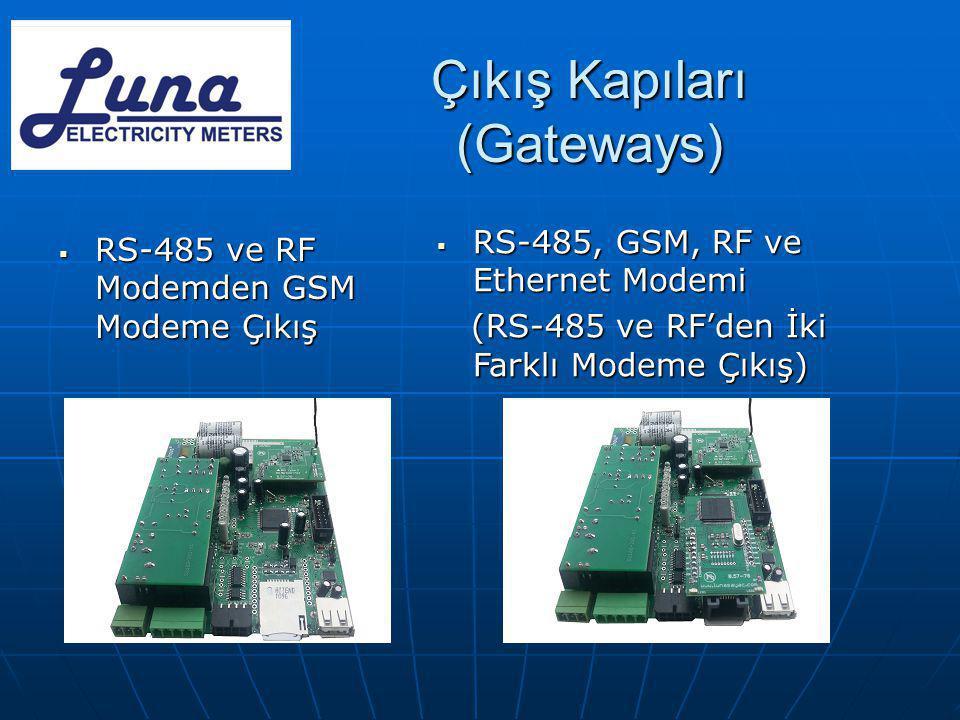 Çıkış Kapıları (Gateways)  RS-485 ve RF Modemden GSM Modeme Çıkış  RS-485, GSM, RF ve Ethernet Modemi (RS-485 ve RF'den İki Farklı Modeme Çıkış) (RS