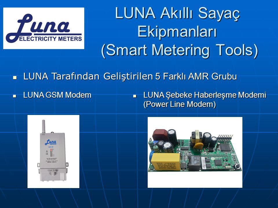 LUNA Akıllı Sayaç Ekipmanları (Smart Metering Tools)  LUNA Tarafından Geliştirilen 5 Farklı AMR Grubu  LUNA GSM Modem  LUNA Şebeke Haberleşme Modem