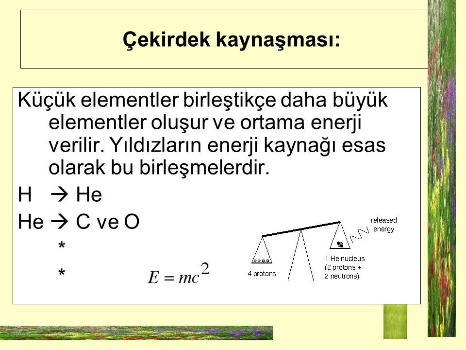 Çekirdek kaynaşması: Küçük elementler birleştikçe daha büyük elementler oluşur ve ortama enerji verilir. Yıldızların enerji kaynağı esas olarak bu bir