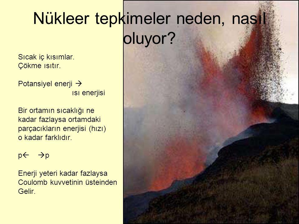 Nükleer tepkimeler neden, nasıl oluyor? Sıcak iç kısımlar. Çökme ısıtır. Potansiyel enerji  ısı enerjisi Bir ortamın sıcaklığı ne kadar fazlaysa orta