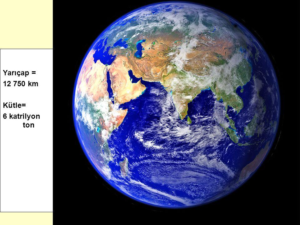 Yarıçap = 12 750 km Kütle= 6 katrilyon ton