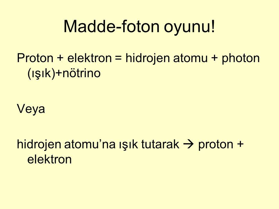 Madde-foton oyunu! Proton + elektron = hidrojen atomu + photon (ışık)+nötrino Veya hidrojen atomu'na ışık tutarak  proton + elektron