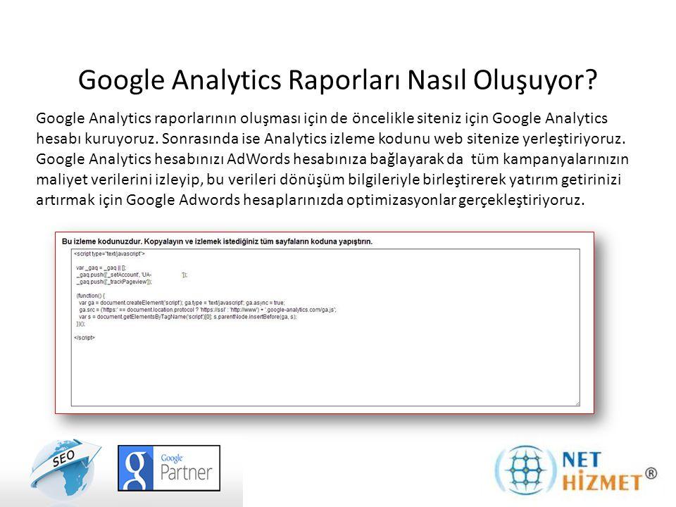 Google Analytics raporlarının oluşması için de öncelikle siteniz için Google Analytics hesabı kuruyoruz. Sonrasında ise Analytics izleme kodunu web si